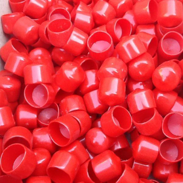 Red tube caps plastic end thread protectors