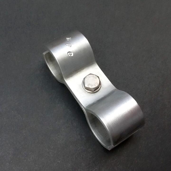 Aluminium Pipe Bracket Double Ports 35mm Diameter 32mm X 3mm