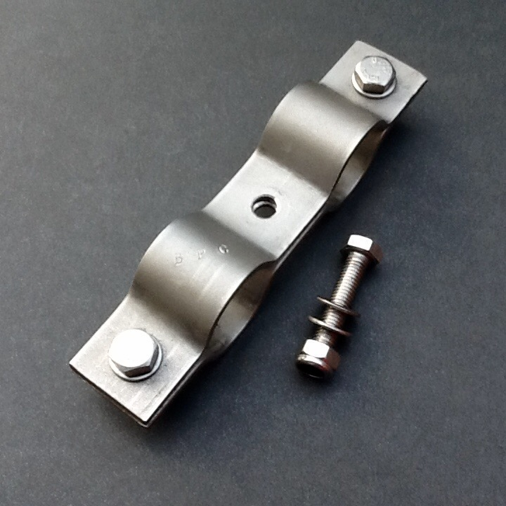 Double pipe clamp stainless steel mm diameter ports