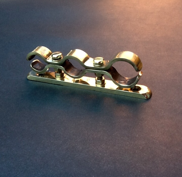 Polished brass pipe clamp bracket multi mm